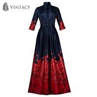 Vintacy Vintage Dark Blue Dress Women Red Petals Printed Skater Dresses Autumn Deep V Neck Belted