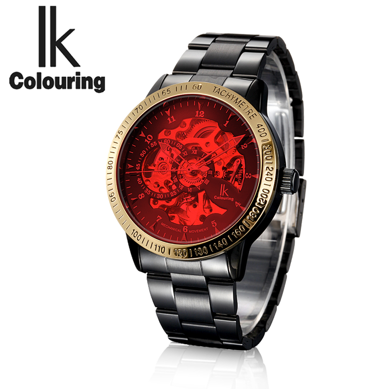 ФОТО Original IK Orologio Uomo Men's Red/Blue Glass Auto Mechanical Watches Wristwatch Gift Box Free Ship
