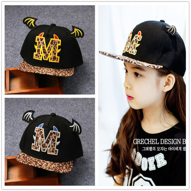 d1f6c44fb Tide Child M Letter Embroidery Leopard Hat Baseball Flat along the Cap  Devil Horn Hip Hop Hood Cap lm6-in Hats & Caps from Mother & Kids on ...