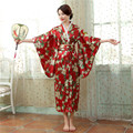 Top vender clássico mulheres tradicionais japonesas kimono com obi yukata performance de palco trajes de dança red one size h0054