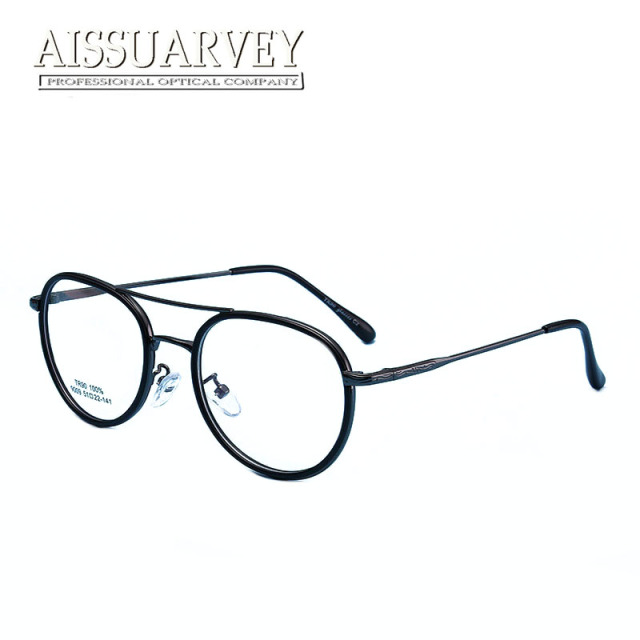 1437240e2f Vintage Round Metal Eyeglasses Frames Men Women Glasses Double Bridge  Fashion Optical Eyewear Prescription Clear Lenses Print
