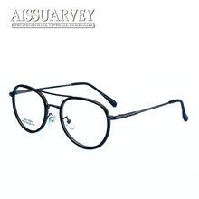 2e02087088e59f Vintage Ronde Metalen Brillen Frames Mannen Vrouwen Bril Dubbele Brug Mode Optische  Brillen Recept Heldere Lenzen Print