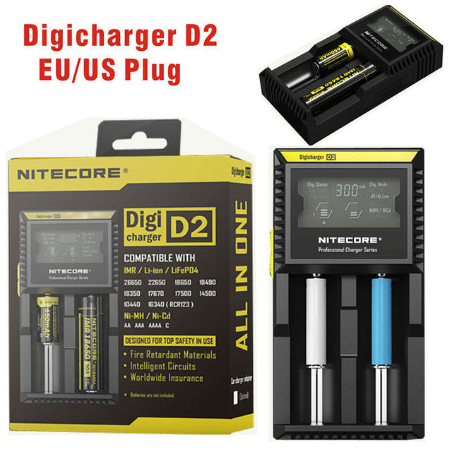 Universal nitecore d2 digcharger pantalla lcd nitecore cargador de batería para aa aaa cargador para 18650 del faro