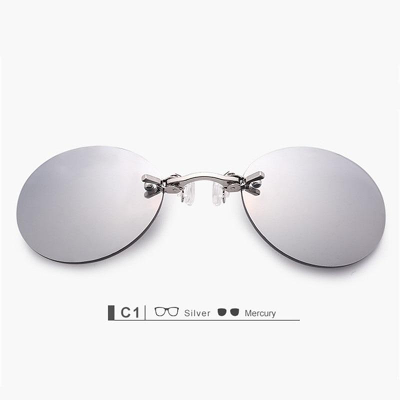 YOOSKE Clip On Nose Sunglasses Pria Vintage Hacker Empire Matrix Morpheus Rimless Sun Glasses Putaran Kacamata UV400 Silver