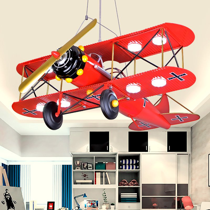Modern Painted Metal Plane Kid's Bedroom Pendant Lamp LED