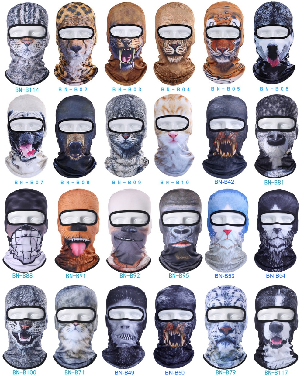 3D Cat Dog Animal Balaclava Bicycle Bike Hats Snowboard Tiger Party Halloween Helmet Liner Winter Warmer Pet Full Face Mask