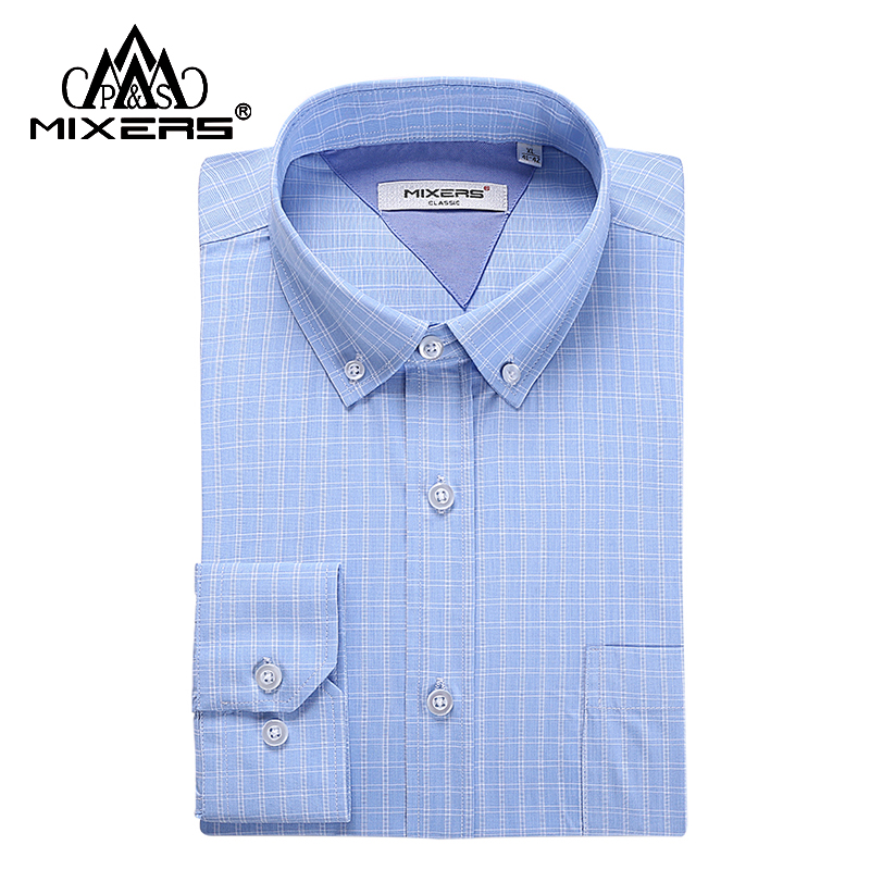 New Product 2018 Blue Plaid Mens Shirts Long Sleeve Mens Casual Shirt Pocket Business Formal Dress Shirt Plus Size XS-4XL