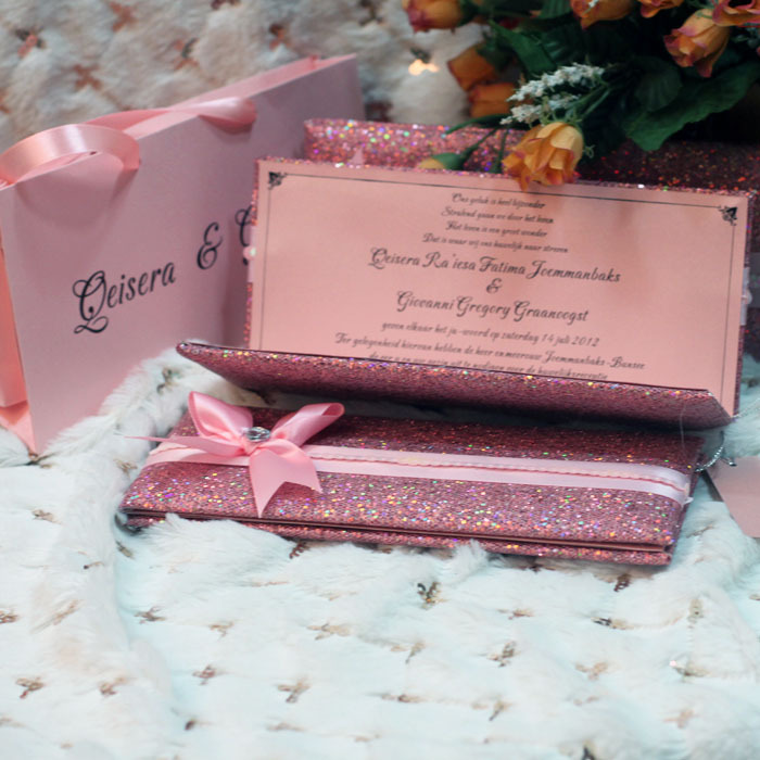 Glitter Wallet Style Luxury Wedding Invitation Pink Color With ...