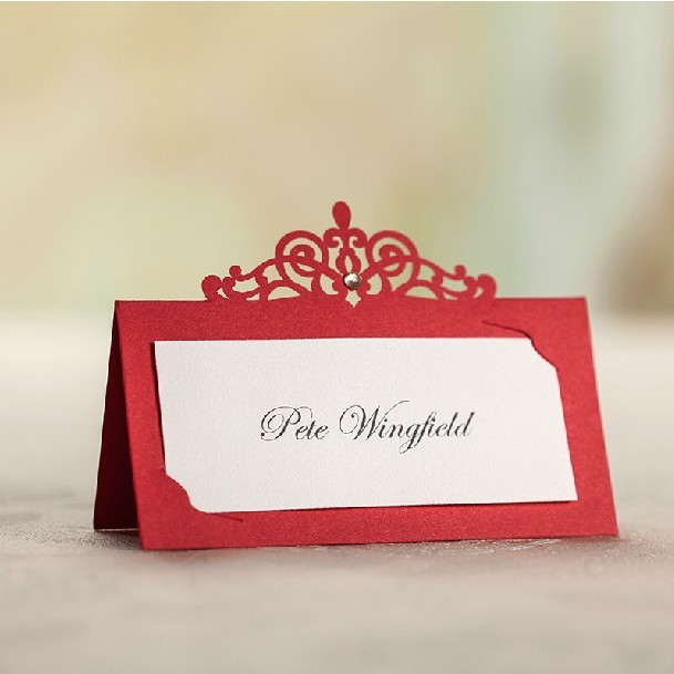 2015 red laser cut place card holder wedding name cards party table