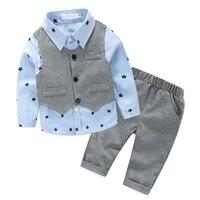 3 Pcs Sets Autumn Baby Boy Clothing Set Star Print Shirt Gray Vest Pants Gentleman Children