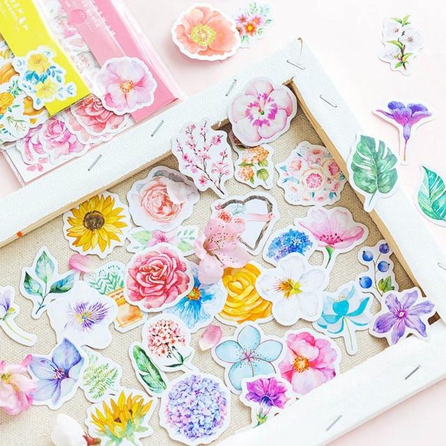 45 unids/bolsa Kawaii Bullet diario lindo flor pegatinas Scrapbooking papel artesanías pegatinas lindas para la decoración del hogar del álbum de recortes