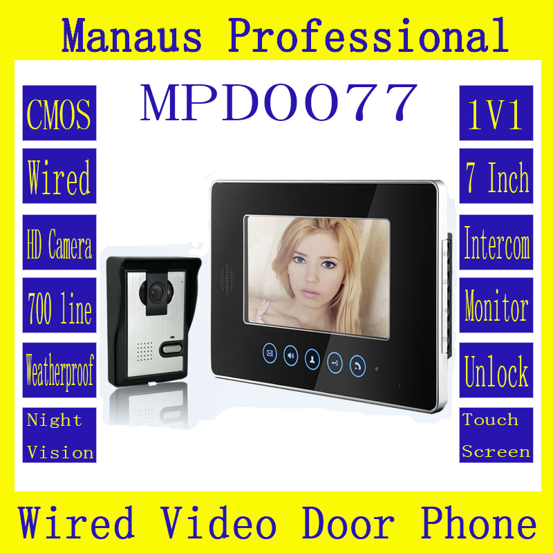 High Quality One to One Video Doorphone Kit Configuration,Professional Smart Home 7 inch Screen Touch Video Intercom Phone D77b 7 inch video doorbell tft lcd hd screen wired video doorphone for villa one monitor with one metal outdoor unit night vision