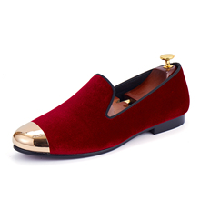 Harpelunde Men Wedding Shoes Red Velvet Loafers With Metal Cap Toe Handmade Flat Shoes Size 6-14