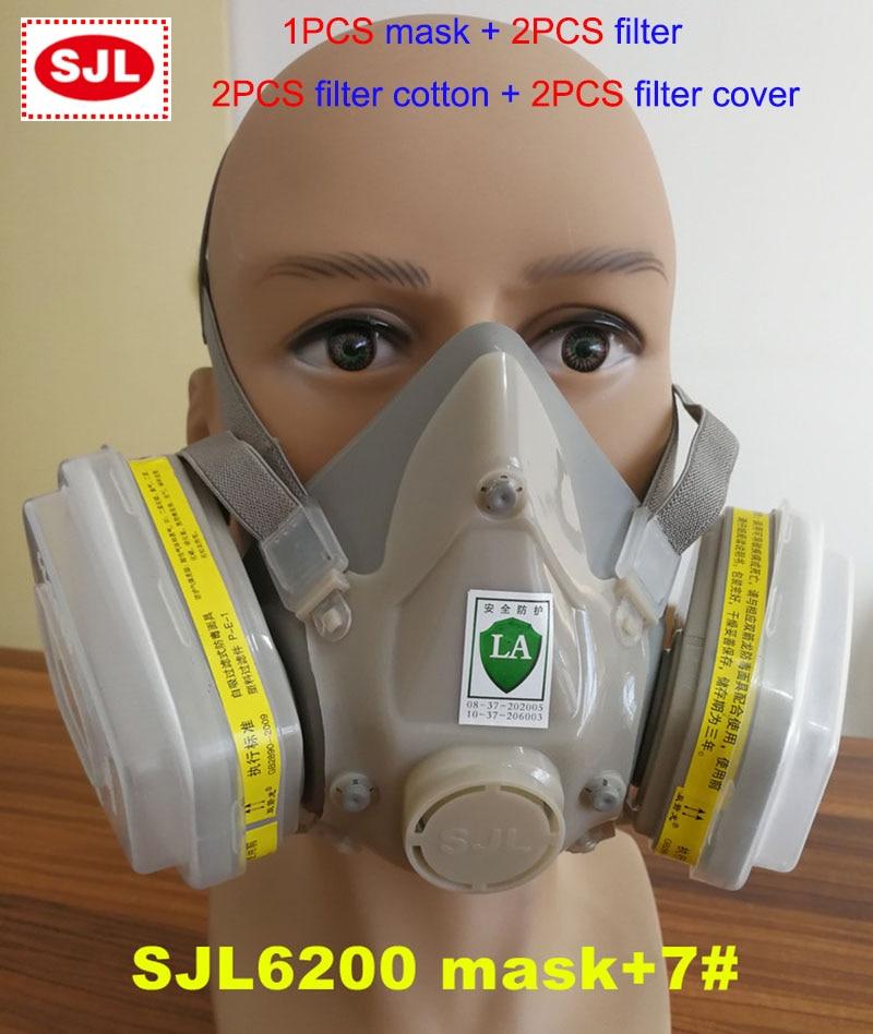 SJL 2011 A7 respirator gas mask 7 sets Modular protective mask against Acid gas Hydrogen sulfide respirator mask 3m 6300 6003 half facepiece reusable respirator organic mask acid face mask organic vapor acid gas respirator lt091