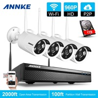 ANNKE 4CH 960P Wireless NVR Kit 1TB HDD 1 3MP CCTV Security WIFI IP Camera Indoor