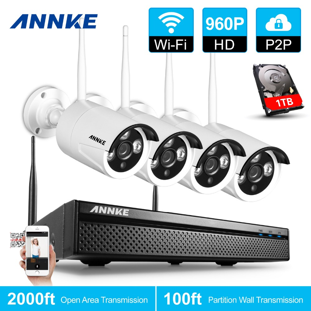 Annke 4ch 960p wireless nvr kit 1tb hdd 1 3mp cctv for Kit video surveillance exterieur wifi