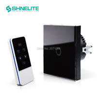 Shinelite EU Standard 1 Gang Capacitive Touch Glass Panel Wireless Electrical Touch Light Switch With Remote