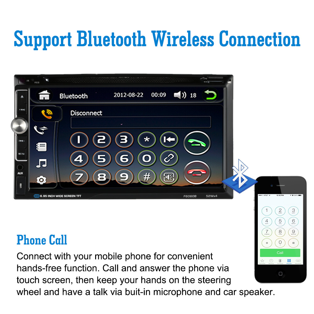 6 95 Digital Touch Screen 2 Din DVD VCD MP3 Player w Steering Wheel Control