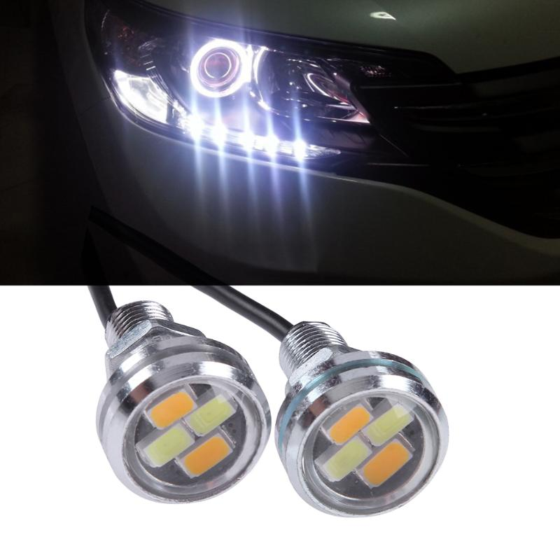 2pcs White+ Amber 5W 5630 4SMD Car LED DRL Eagle Eye Lights Turning Signal Warning Lamps Car-styling Aumobile LIghts