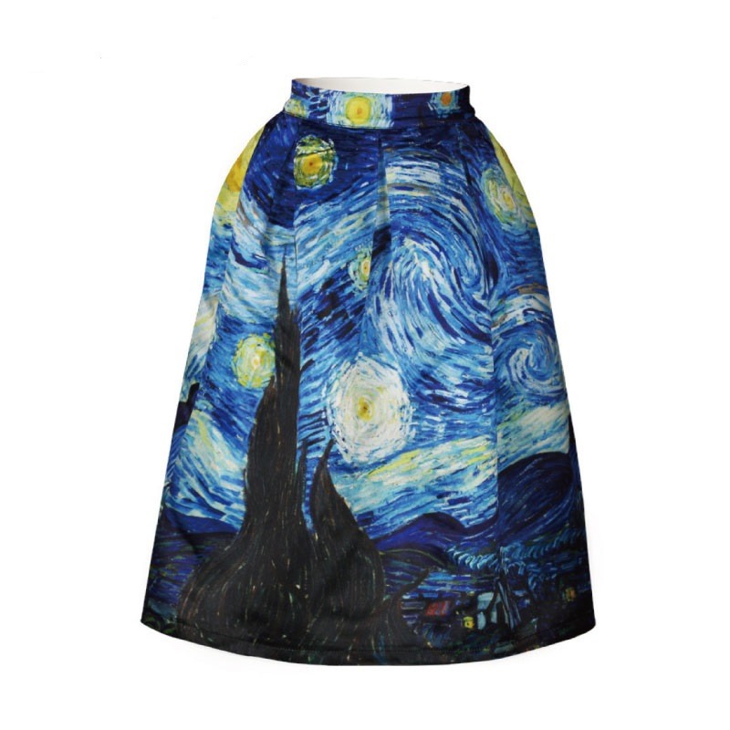 New 2019 Vintage Van Gogh Starry Sky Oil Painting 3D Digital Print High Waist Skirt Rockabilly Tutu Retro Puff Skirt Female
