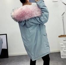 2016 Outono nova mulher moda Parkas com rosa da pele do falso capuz de Lã forro solto casaco com bolsos