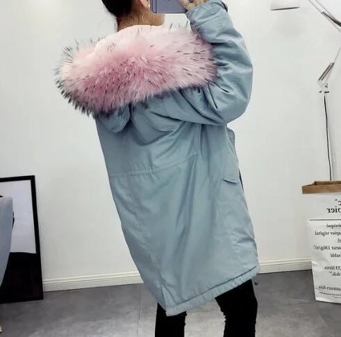 2018 Autumn woman fashion   Parkas   with large pink faux fur hood Fleece lining loose coat with pockets WARM COATS drawstring waist