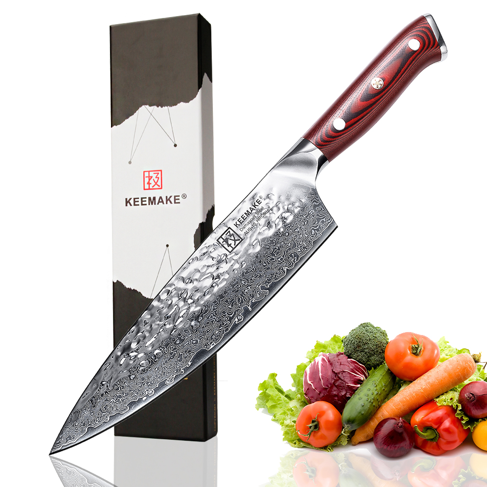 KEEMAKE 8 inch Chef Knife Hammer Damascus AUS 10 Steel Blade Chef Kitchen Knives G10 Handle Sharp Meat Vegetable Cutting Tools-in Kitchen Knives from Home & Garden    1