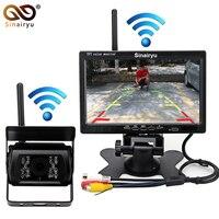 Sinairyu DC 12 24V 7 HD Car Monitor IR Night Vision CCD Car Backup Camera Wireless