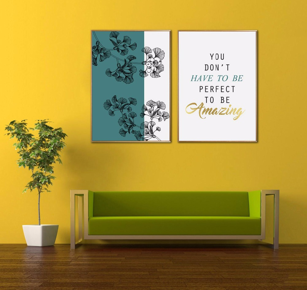 ALMUDENA Modern Nordic Style Blue Abstract Ginkgo Art Living Room ...