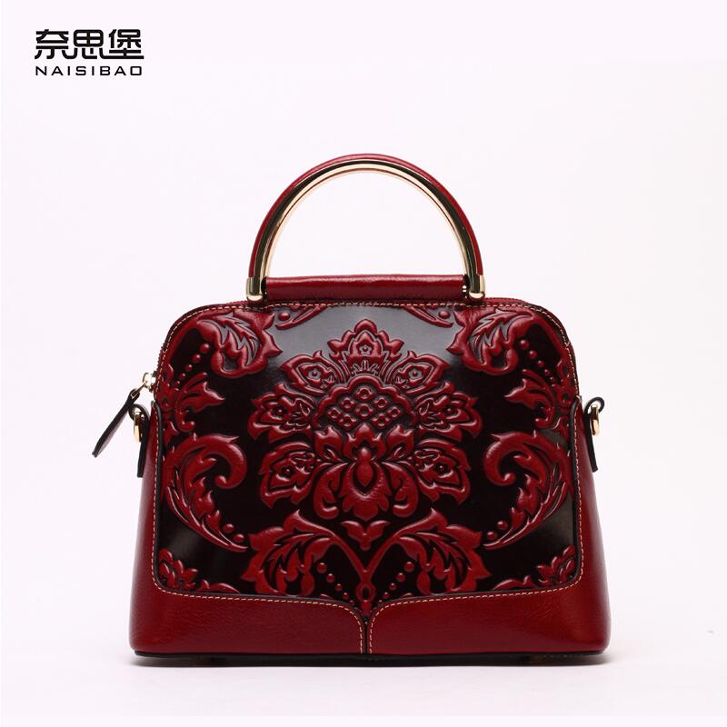 Famous brand top quality Cow Leather women bag  2016 new Chinese style embossed handbag Retro Shoulder Messenger Bag  Shell bag