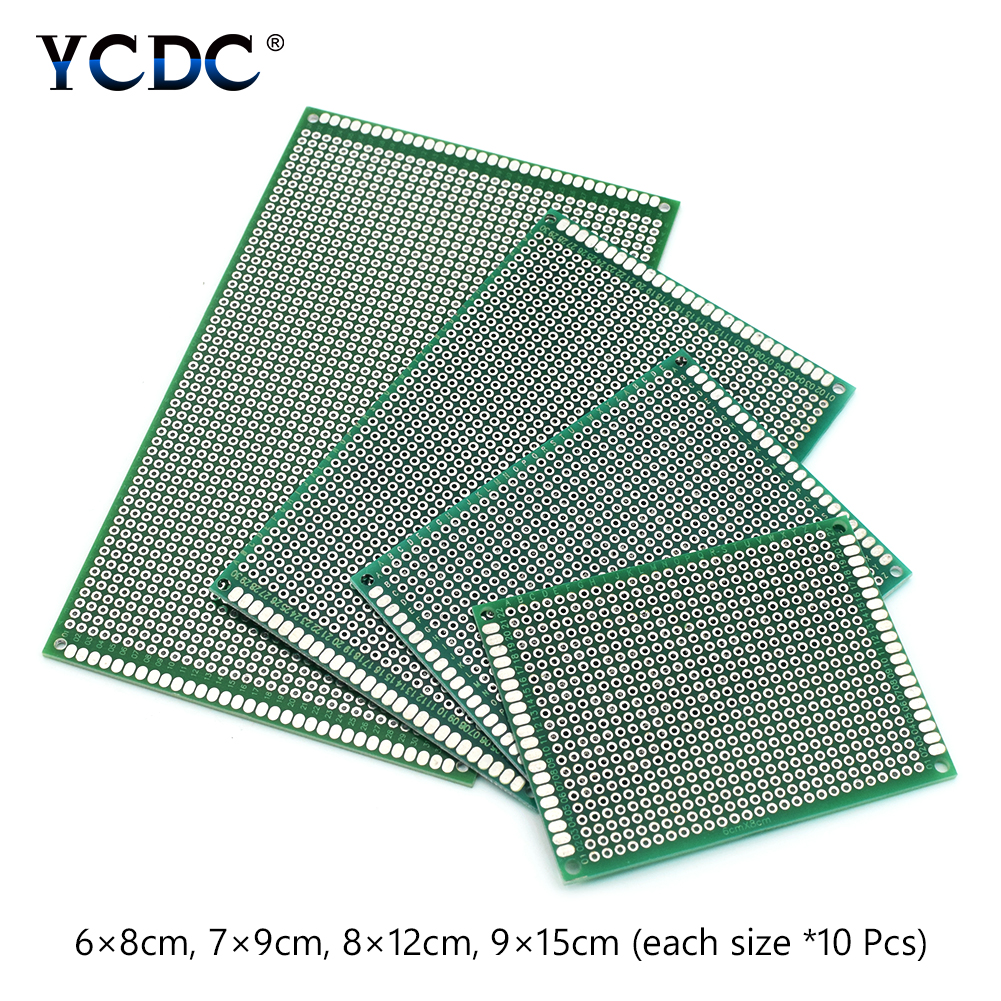 40Pcs Set 6x8 7x9 8x12 9x15cm PCB Printed Circuit Board Duel Sides Prototype Breadboard 4 Sizes image