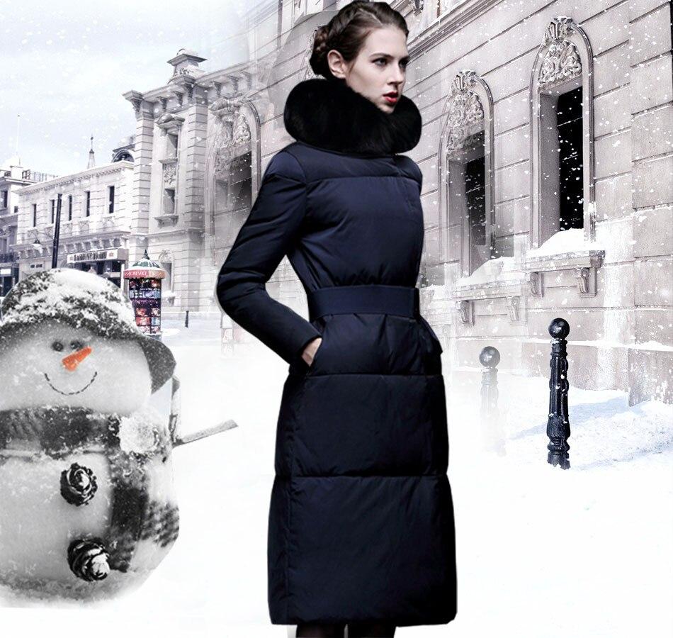 зимняя парка женщин элегантный тонкий натуральным лисьим мехом парка для леди длинные пальто утепленный для девочки куртка с натуральным мехом женские пальто