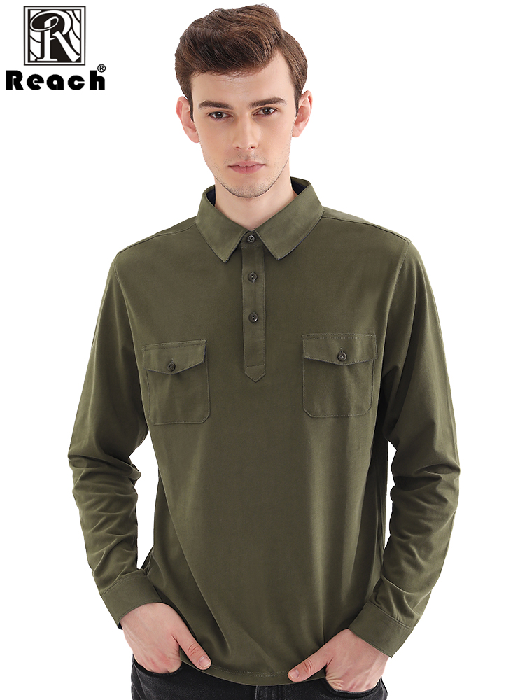 Reach Casual Polo Shirt Men Long Sleeve Cotton Slim Fit Pocket Homme Para Hombre Menss Polo Tops With Long Sleeve Solid EU Size