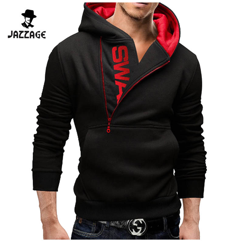 Hoodies Men 2017 Brand Male Long Sleeve Hoodie Sweatshirt Mens Oblique Zipper Hit Color Moletom Masculino