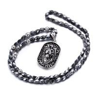 New Punk Titanium Steel Lion Head Male Pendant Tide Male Beads Necklace Jewelry Domineering Tide Necklace