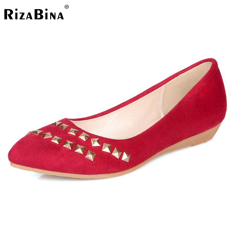 Women Shoes Woman Flats High Quality Suede Leather Casual Fashion Rivets Pointed Toe Women Flat Shoe Escarpin Size 34-39 fashion women shoes woman flats high quality comfortable pointed toe rubber women sweet flats hot sale shoes size 35 40