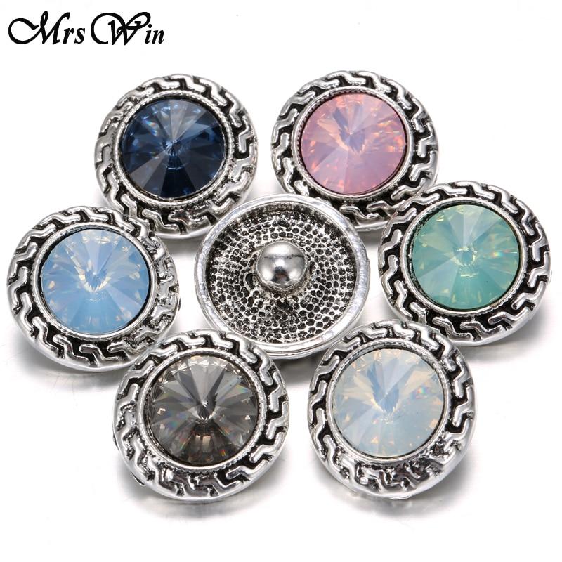 Mrs Win Snap Jewelry Buttons Birthstone Rhinestone 18mm Snap
