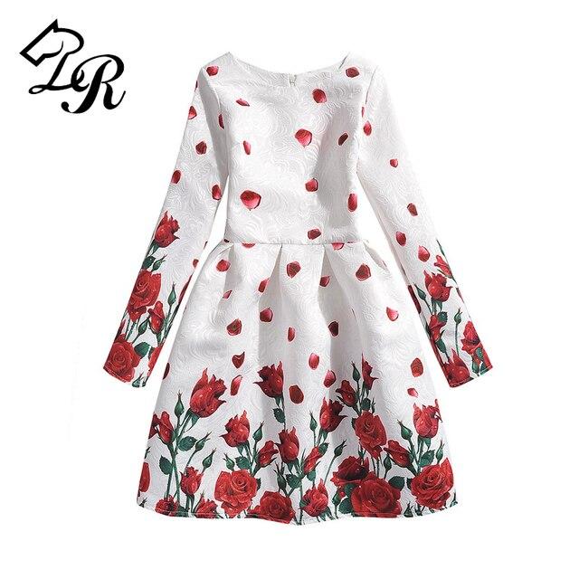 Kids Designer Meisjes Jurken Rose Kinderen Bloemenprint Meisje Prinses Lange Jurk Kleding Baby Mouw Vlinder x6qOIpa
