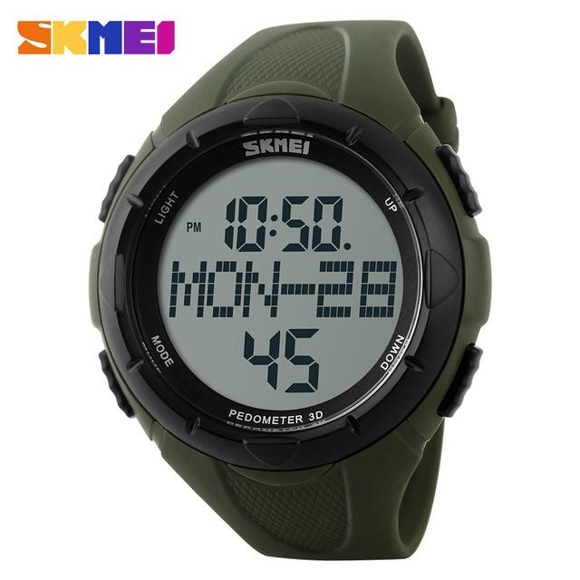 Nova marca homens relógio digital de skmei passo escalada esportes ao ar livre do diodo emissor de 50 m à prova d' água 2 pedômetro alarme contagem regressiva relógios da moda