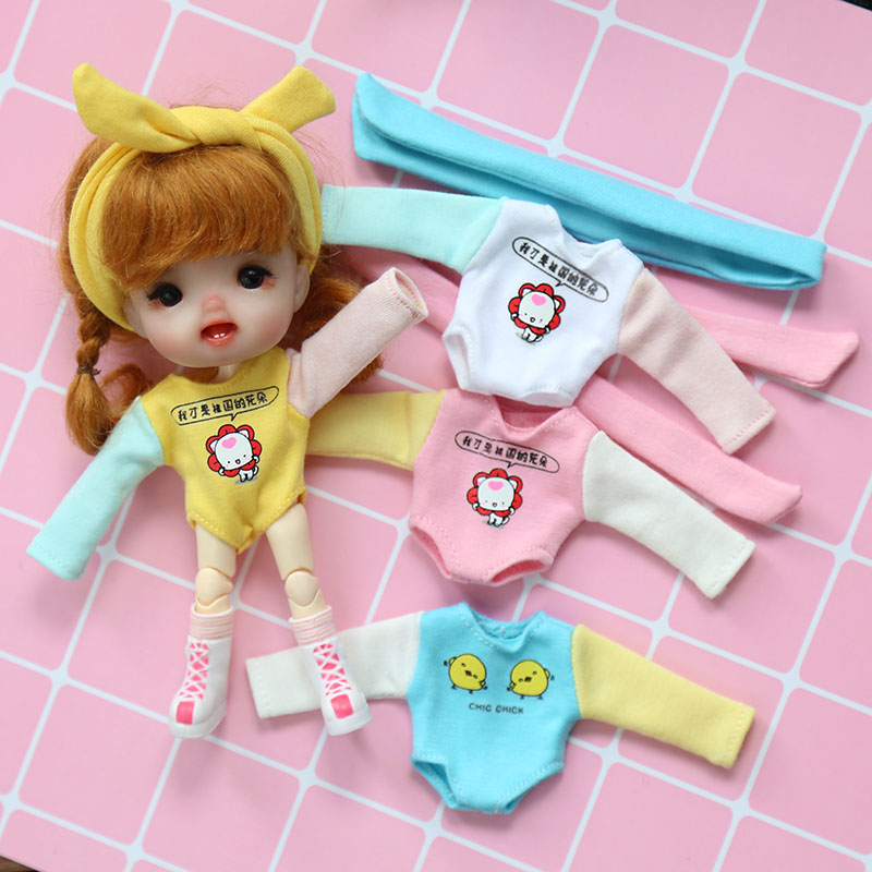 New 2pcs/set Cute Ob11 Dolls Clothing Jumpsuits Pajamas With Hair Band For Ob11 1/12 Bjd Dolls Accessories Clothes For Dolls Dolls & Stuffed Toys Toys & Hobbies