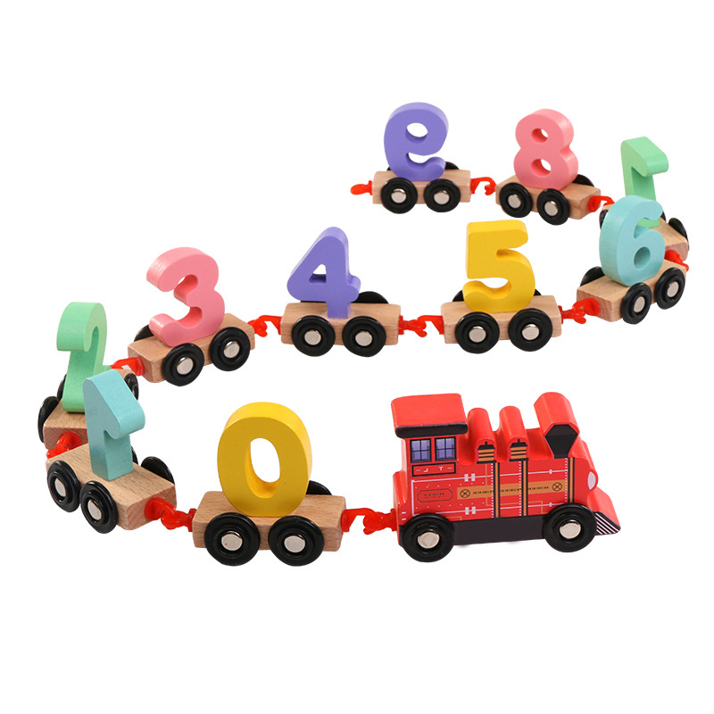 Kawaii Children Toddlers Digital Small Wooden Train 0-9 Number Figures Railway Model Wood Kids Early Educational Toys Gift