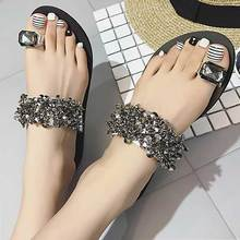 Women Sandals Summer Bling Casual Flat Slippers Rhinestone Female Flip Flops Ladies Sandals Beach Shoes 2019 Sandalia Feminina