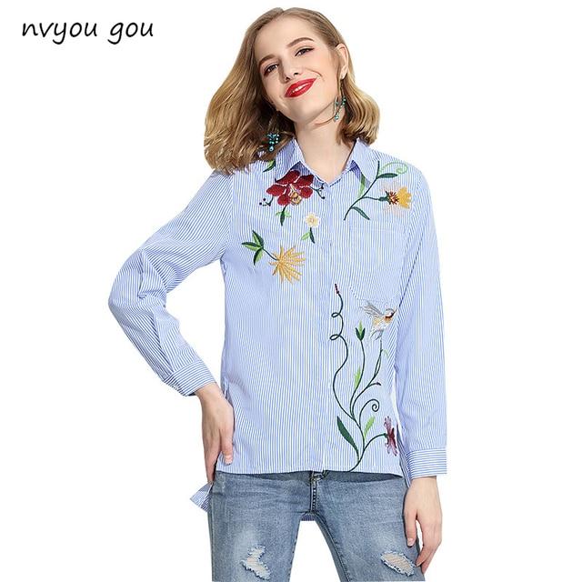 13ab9a3a17 2018 blusa mulheres Primavera e No verão de algodão de manga longa feminino  casual listrado remendo