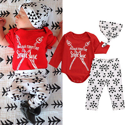 2016 Autumn Newborn Baby Girls Boys Clothes Long Sleeve Letter Red Tops T-shirt+Triangle Pants Leggings Hat 3pcs Outfits Set
