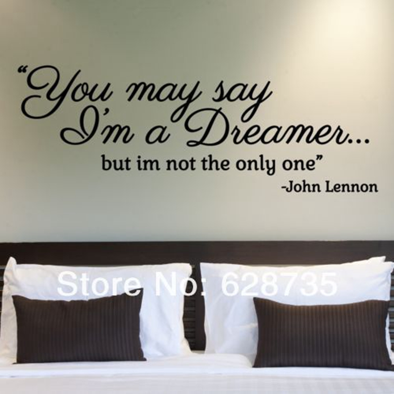 John Lennon Quote I/'m A Dreamer Lyrics Removable Wall Decal Vinyl Sticker Decor