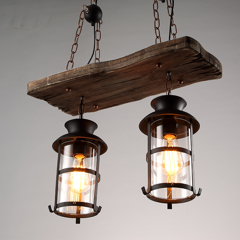 Vintage Retro Loft American Country Style Dual Heads Metal Droplight with Wood Panel Chain Pendant Light for Bar Cafe Inn