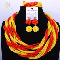 Red And Yellow Nigerian Wedding African Beads Jewelry Sets Accessories 3 Layers Turkish Jewelry Sexy Turkish