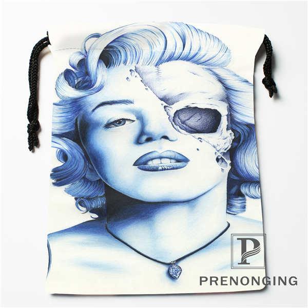 Custom Marilyn Monroe Drawstring Bags Printing Fashion Travel Storage Mini Pouch Swim Hiking Toy Bag Size
