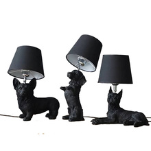 Resin Cute Dog Table Lights Lamp bedside Black white Corgi Boston Pug Beagle Desk Retro Animal black dog table light