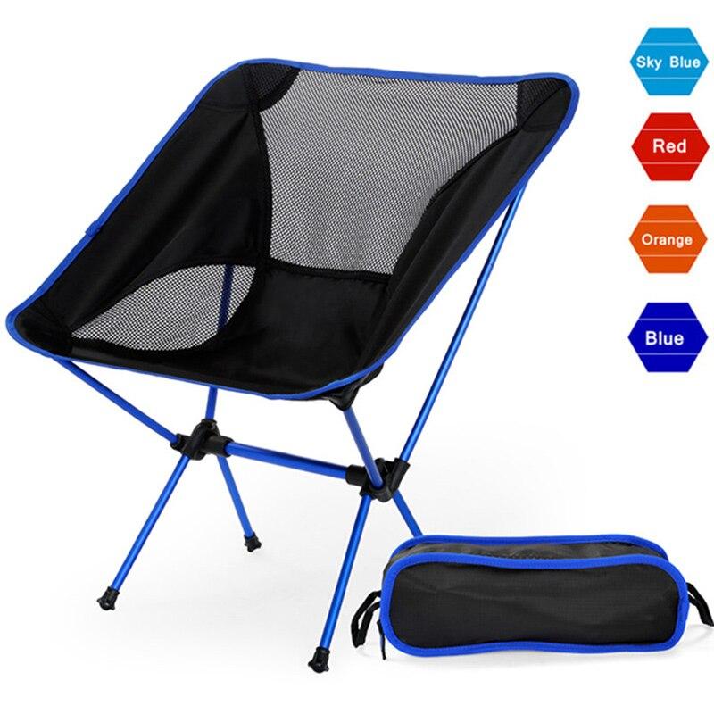 Portable Camping Beach Chair Lightweight Folding Fishing Outdoorcamping Outdoor Ultra Light Orange Red Dark Blue Beach Chairs-in Beach Chairs from Furniture